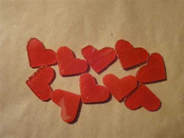 Herz, opal rot, 2cm