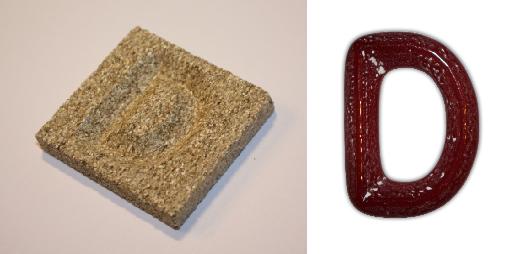 Form aus Vermiculite Buchstabe D