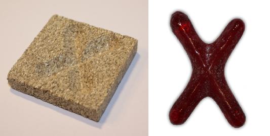 Form aus Vermiculite Buchstabe X