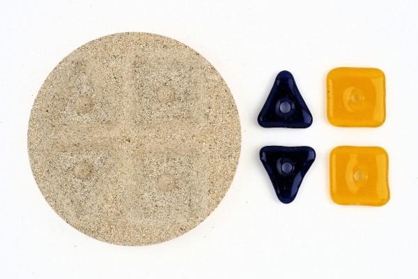Vermiculiteform Dreiecke und Quadrate