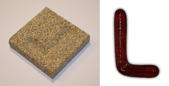 Form aus Vermiculite Buchstabe L