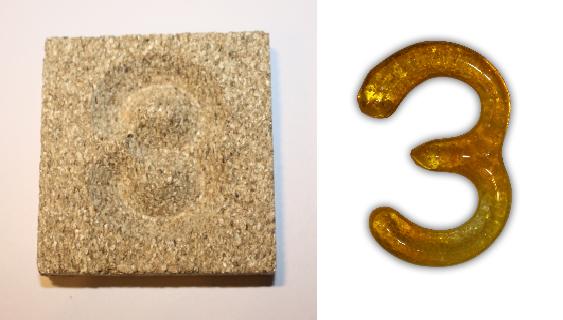 Form aus Vermiculite Zahl 3