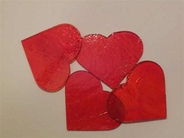 Herz, transparent rot, 5cm