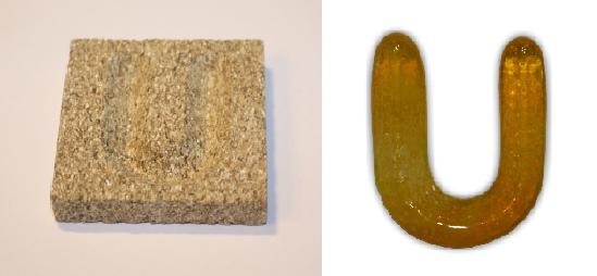 Form aus Vermiculite Buchstabe U