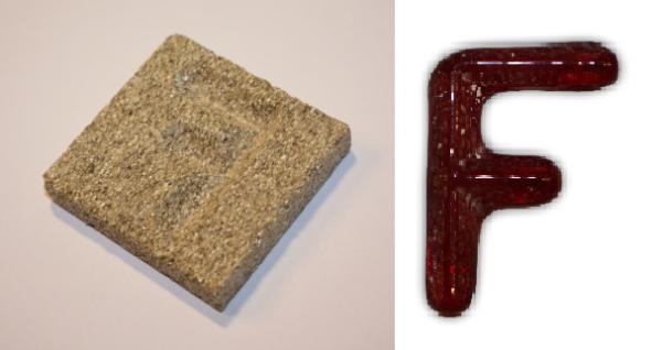 Form aus Vermiculite Buchstabe F