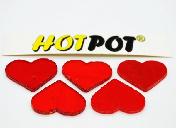 Herz, transparent rot, 3cm