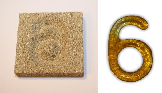Form aus Vermiculite Zahl 6
