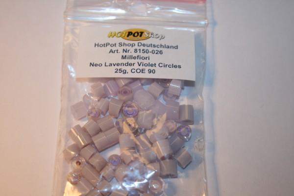 Millefiori Neo Lavender Violet Circles, 25g, COE 90