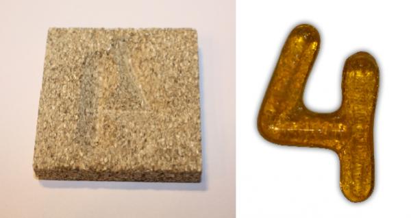 Form aus Vermiculite Zahl 4