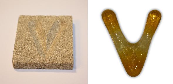 Form aus Vermiculite Buchstabe V