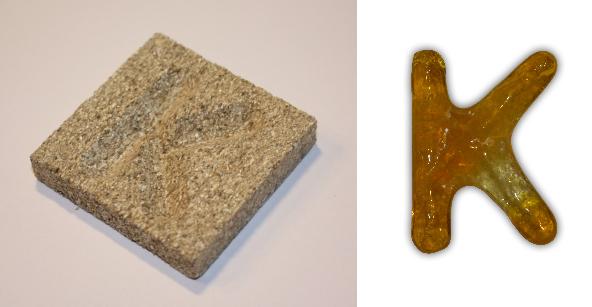 Form aus Vermiculite Buchstabe K